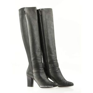 Chanel Silver Tall Leather Boots